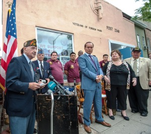 """He then stopped his speech to salute his fellow veterans of VFW Post 2348: """"I want you all to know that I have the upmost respect and enormous admiration for all of you young veterans,"""" he said."""