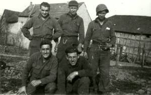 Late March - Early April 1945 SSG With his Squad Harz Mountains, Germany Upper Left - SSG Rocco Moretto Center - PFC Bennie Zuskin Upper Right - PFC Hall Bottom Left - Joe Amuso Bottom Right - Vincent Marcello