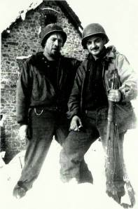 December 1944 SSG Battle of the Bulge Butgenbach, Belgium Left - Tech Sergeant Bob Wright - KIA soon after photo was taken Right - Rocco Moretto