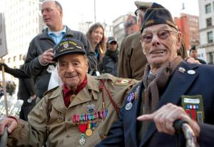World War II veterans Rocco Moretto and Thomas P. Shea at the 2010 Veterans Day parade in Manhattan (NY Daily News, 2011)