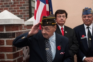 """During his speech, Rocco stopped to salute his fellow veterans of VFW Post 2348: """"I want you all to know that I have the upmost respect and enormous admiration for all of you young veterans,"""" he said"""