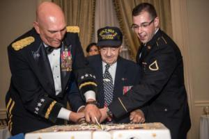 Rocco with U.S. Army Chief of Staff, Gen. Ray Odierno and Pfc. Louis Angelici cut the Army birthday cake at the Army Week Association's celebration of the 239th Army Birthday Gala in New York City, June 12, 2014. (U.S. Army photo by Staff Sgt. Mikki L. Sprenkle)